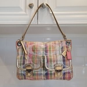 Coach RARE Poppy Madras Pastel Plaid Shoulder Bag